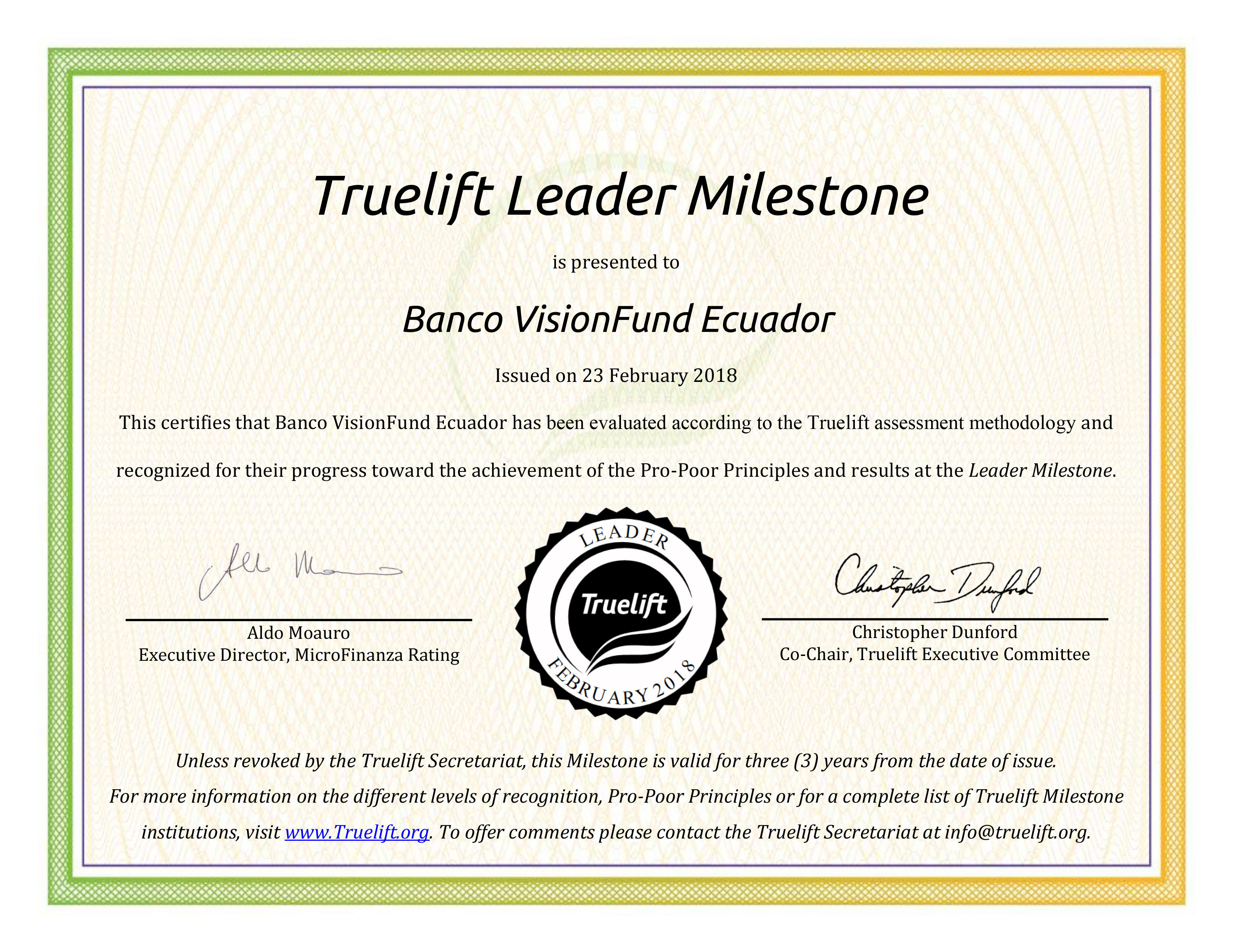 Banco VisionFund Ecuador has been awarded the Truelift Leader Milestone