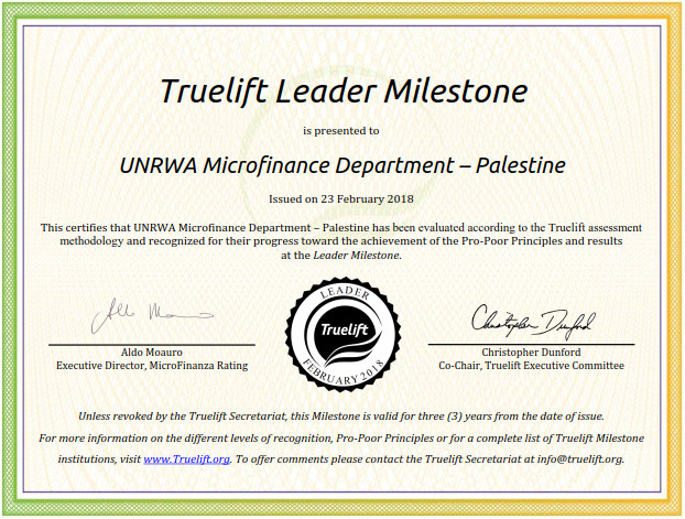 UNRWA Microfinance Department has been awarded the Truelift Leader Milestone