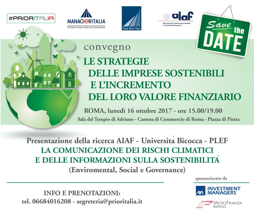Save the Date! MFR all'evento Prioritalia sul valore delle imprese sostenibili