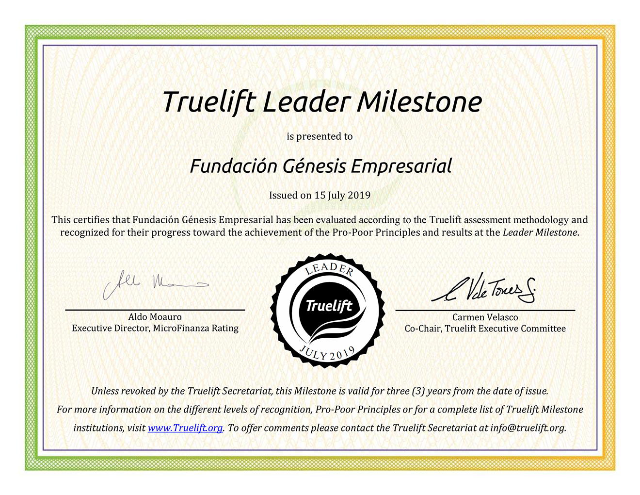 Fundación Génesis Empresarial has been awarded the Truelift Leader Milestone